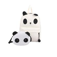 Perempuan Gadis Canvas Backpack Lucu Kartun Panda Tas Sekolah dengan Tas Bahu Kecil Putih