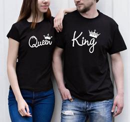 Fashion Summer New Summer Lovers King Queen Men Women King Queen Print Casual Couple O-neck Top Tees
