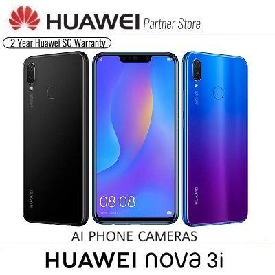 HuaweiHuawei Nova 3I AI Camera/128GB Rom/4G+4G/Android 8 1/2 Yrs Huawei  Singapore Warranty