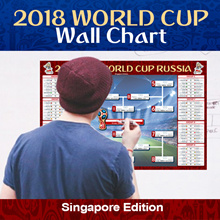 WORLD CUP 2018 ♥ SG ONLY SELLER Match SCHEDULE WALL CHART ♥  SG Edition. Folded into A4 Size. 70 x45