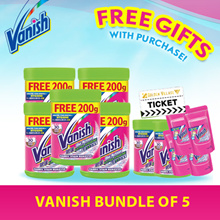 5 x Vanish Power Laundry Fabric Stain Remover 900G FREE 200G + FREE GWPs