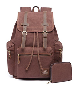 e14aae1f4392 COUPON  ▷ 1 Shop Coupon◁ KAUKKO Canvas Vintage Backpack Casual Daypack  School Leather Rucksack Laptop Bag