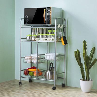 Heart Ikea Kitchen Rack Microwave Rack Metal Four Layer Trolley Rack Storage Shelf Kitchen Drain She
