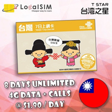 【Taiwan—8days】4G Unlimited Data◆40mins call◆Cash+Carry Bugis/Bedok/Nex/Clementi/Northpoint/PlazaSing