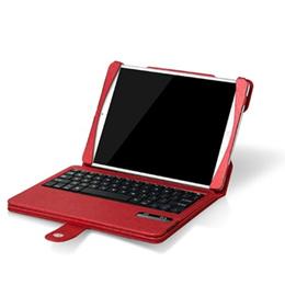 新商品 iPad air用レザーケース付き  Bluetooth キーボード☆レッド