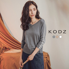 KODZ - Striped Sleeves V-neck Top-180092