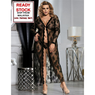 963a37d285185 Plus Size Lingerie Sexy Robe Long Dress Sleepwear (Black) - XL  2XL
