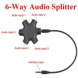 6 Way 3.5mm Stereo Audio Headset Hub Splitter Up to 5 Headphones to iPod MP3