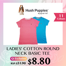 HUSH PUPPIES LADIES ROUND NECK BASIC TEE T-SHIRT #HLT907533 TOP