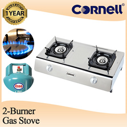 Cornell Table Top Gas Stove Gas Cooker 2 Burners [LPG Gas Only] (1 Year Warranty) CGS-P1102SSD