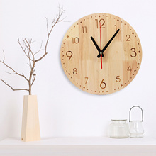 Natural Solid Wood Round Analog Wall Clock Arabic Dial