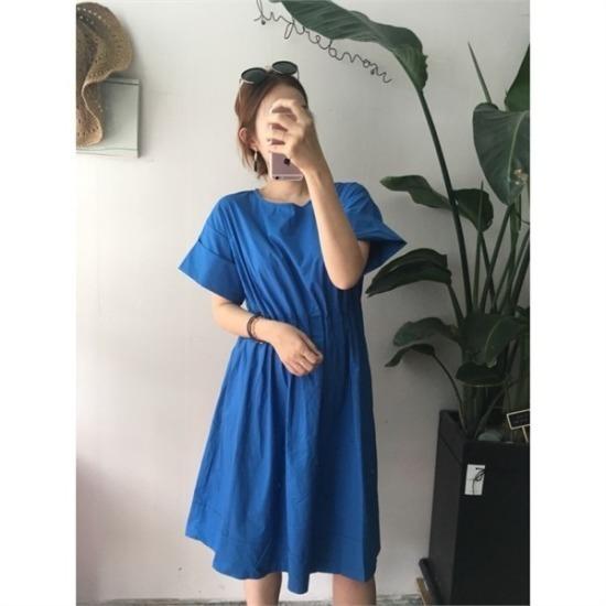 はいトト行き来するようにはいトトブルーバンディングワンピース 綿ワンピース/ 韓国ファッション