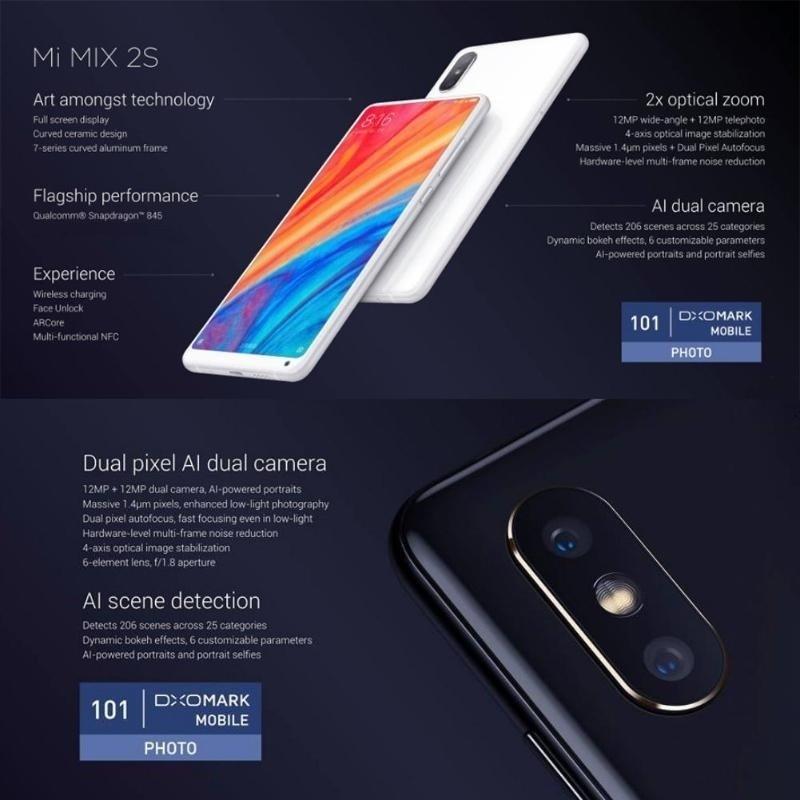 Ultra-thin Xiaomi Mi MIX 2S Octa Core Android 8 0 4G Phone w/ RAM 6GB ROM  64GB Memory