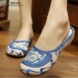 Autumn old Beijing female cloth shoes embroidery Slippers indoor Slippers national Wind Slippers hom