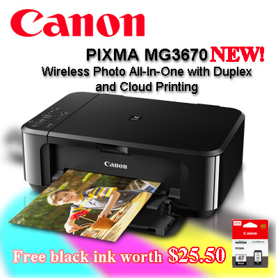 coupon friendlyCanon PIXMA MG3670 Printer Wireless Photo All-In-One with  Duplex and Cloud Printing