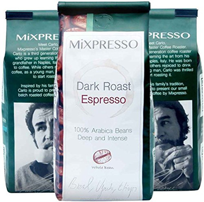 Roasted Coffee Beans Mixpresso's Whole Bean Dark Roast Espresso, 10 Ounces  Bags (Pack of 4) Coffee,