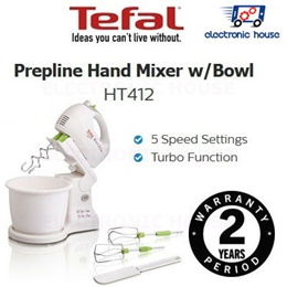 ★ Tefal HT412 Prepline Hand Mixer w/Bowl ★ (2 Years Warranty)