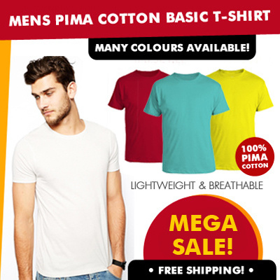 0a6bdc5a5 Best Price Guaranteed- Mens 100% Pima Cotton Basic T-Shirt- High Quality