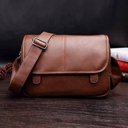 Shoulder Messenger Bag For Men Genuine Cow Leather Waterproof