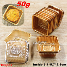 (100pcs/pack) Disposable plastic golden square mooncake holder moon cake box placemat Egg-Yolk Puff