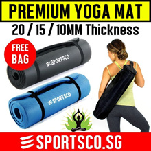 ⏰⚡ Premium Yoga Mat ☘ FREE Bag ☘ NBR TPE 20mm 15mm 10mm ☘ Yoga Towel / Ball / Strap / Wheel ☘ SG ☘
