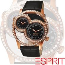 [Esprit](EL101212S04U)Metess Rose Gold Ladies Dual Time Crystal Embellished Croc Leather 42mm Butterfly Buckle FEB 2015 STOCKS ARRIVAL PRE-ORDER