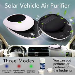 PREMIUM Smart Solar Powered Air Purifier Cars and Small Room Activated Carbon Ionizer Portable