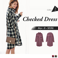 OB DESIGN ★ OBDESIGN ★ ORANGEBEAR ★ LONG SLEEVE CHECKED SHIRTS DRESS ★ 2 COLORS ★ S-XXXXL SIZE ★