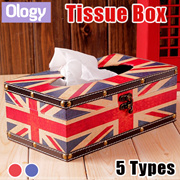 Vintage Tissue Box Holder Jewellery Box Toilet Roll Storage Box UK USA Flag Christmas Gift Idea