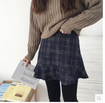 90e0e1abbd Plaid skirt female Korean bf retro 2018 new women spring high waist woolen  skirt A skirt