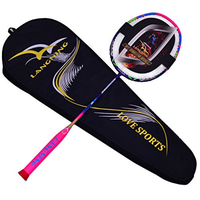 fab317ce3 LANGNING Badminton Racquet Light Racket Set Carbon Fiber 7u Best Tournament  Single Shuttle Bat Carry
