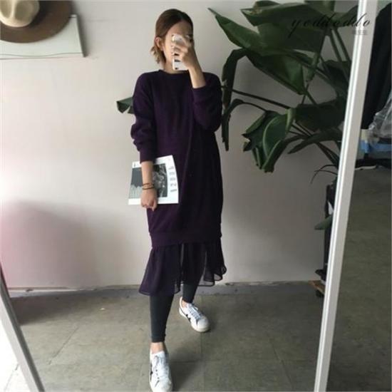 はいトト行き来するようにはいトトの裾シフォン起毛ワンピース プリントのワンピース/ 韓国ファッション