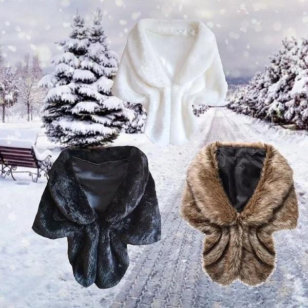女性のフェイクウサギ毛皮の襟カッパショールコートのカーディガンのベストコートのラペルの盾