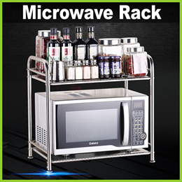 ★ Stainless Steel Microwave Space-Saving Rack ★ 2-Tier Kitchen Shelf / Oven Condiment Jars Pots Pans