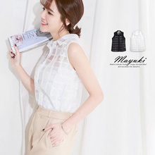 MAYUKI - Sheer Checked Shirt with Lace-6003117