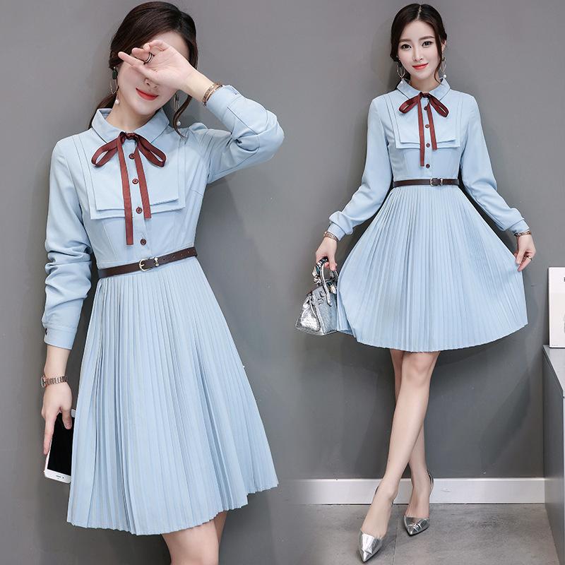 新作 秋 韓国ファッション ワンピース   レディース  長袖  大きいサイズ  シャツ   スカート気質  プリーツスカート 大人気   着痩/  D7072895