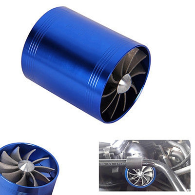 Blue Dual Air Intake Fan Car Gas Fuel Saver Turbo Charger Supercharger  (Color: Blue)