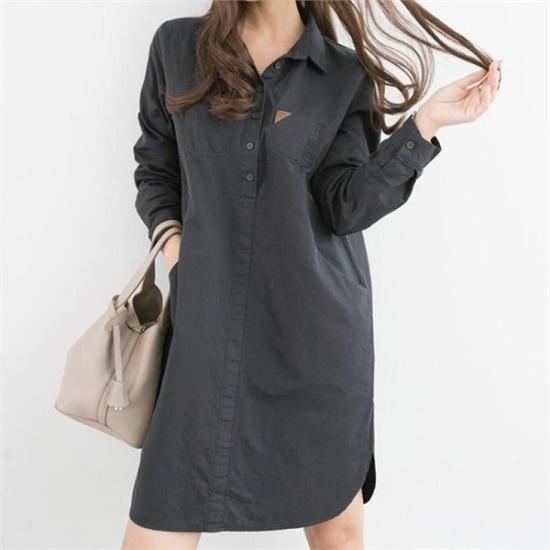 ピピン行き来するようにピピンロドゥレンパッチラウンディングシャツ、ワンピース34852 綿ワンピース/ 韓国ファッション