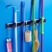 Multipurpose bathroom toilet space Aluminum mop bracket shelf hanging organizer with 4 hook tools