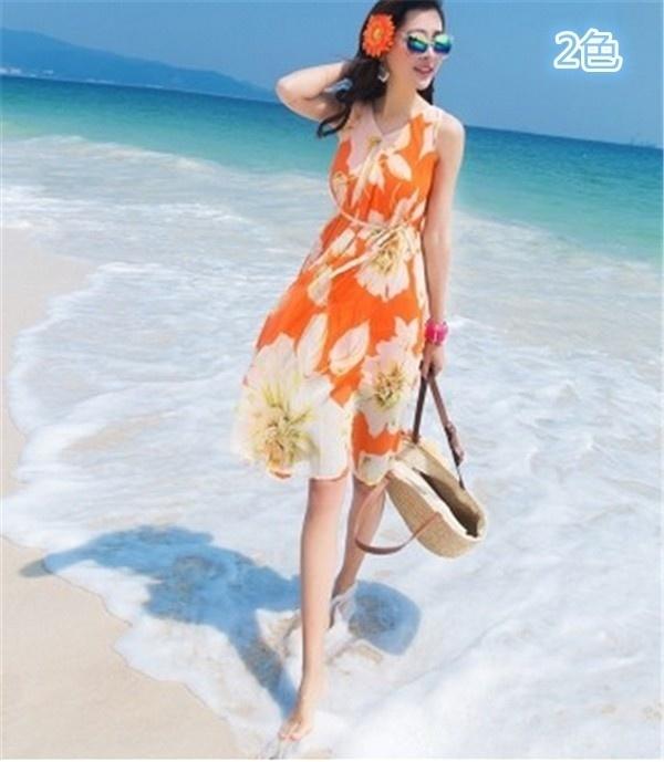 レディースワンピース ビーチワンピース 砂浜 ボヘミア風 プリント ファッション ハイセンス 着心地いい おしゃれ 夏 レディースワンピース