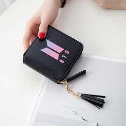 BTS 2019 New Fashion BTS 3d wallet Kpop Short Zipper card wallet Girl Tassel purses Mini cute Bags C