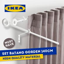 IKEA IRJA Set batang gorden lengkap 140 cm putih
