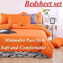[SUPER AFFORDABLE ]Minimalist Pure Style Bedsheet set and Quilt Cover Pillowcase Soft and Comfortabl