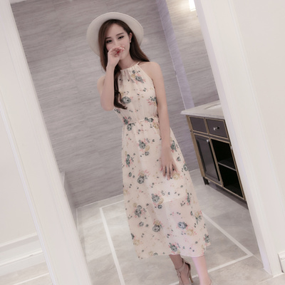 07e3fff680 Korean edition summer floral dress. Bohemian dress. chiffon printing  camisole dress . Middle length