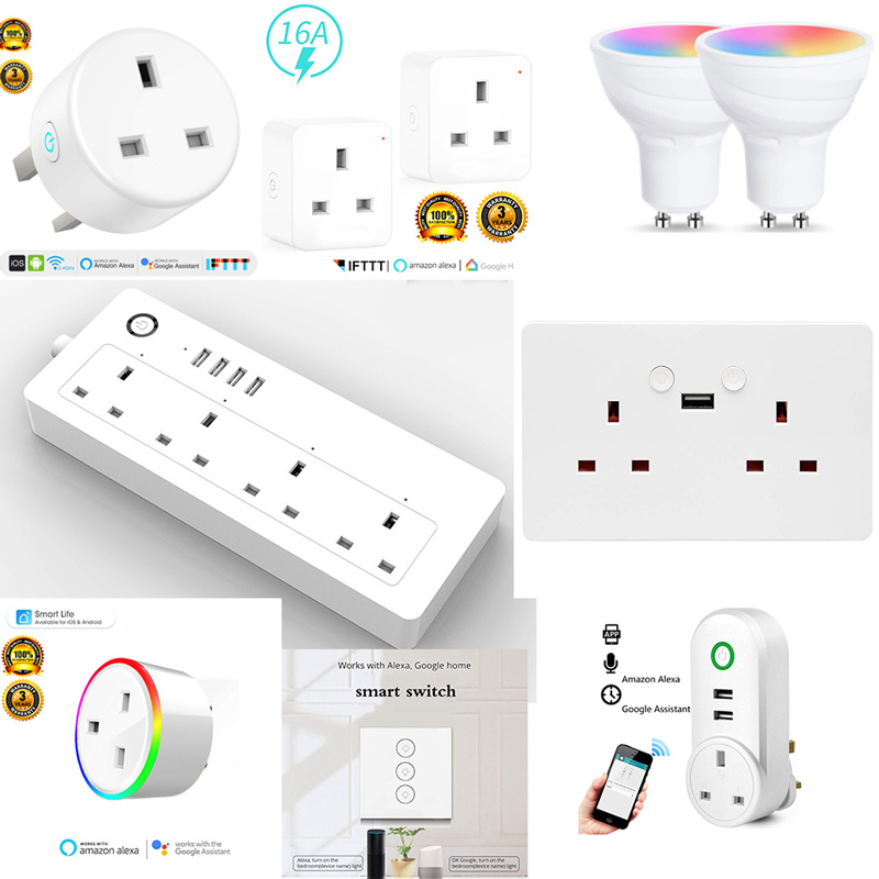 Smart wall Socket Plug Wifi Bulbs Strips USB Google Home Amazon Alexa
