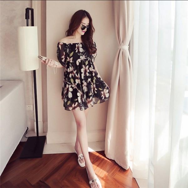レディースワンピース 韓国無地 スリム 韓国のファッション 上品  学院? 一字襟シフォンワンピース プリントワンピース  ハイセンス 着心地いい おしゃれ 夏 スリム セール★ レディースワンピース