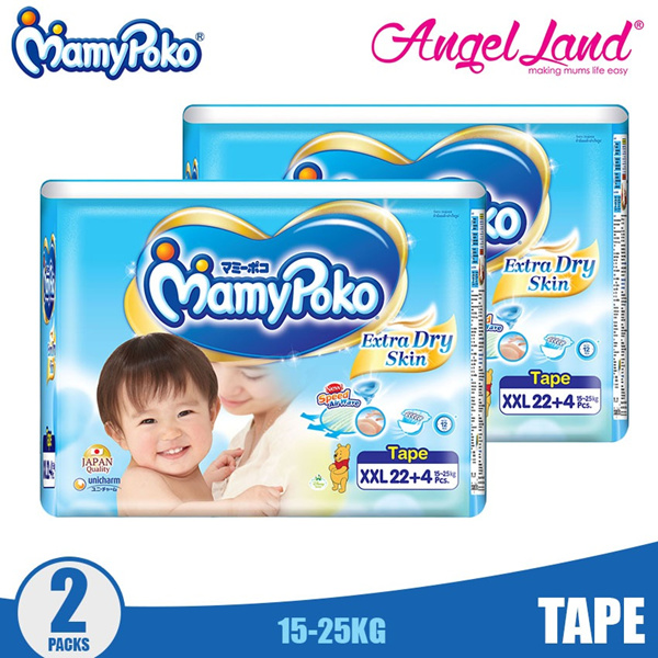Mamypoko Extra Dry Skin Tape Jumbo S44+4/M38+4/L32+4/XL28+4/XXL22+4 Deals for only RM63.9 instead of RM76