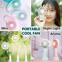 Portable Aroma Fan / Mini Fans / Rechargable Battery / USB / Clip On / Night Light
