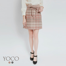 YOCO - Plaid Ribbon Skirt-172089-Winter