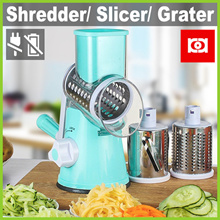 [ED1804] Manual Food Shredder ★ Veg/Nut Grinder/Slicer/Grater 3 Drum Blades No Electricity Needed